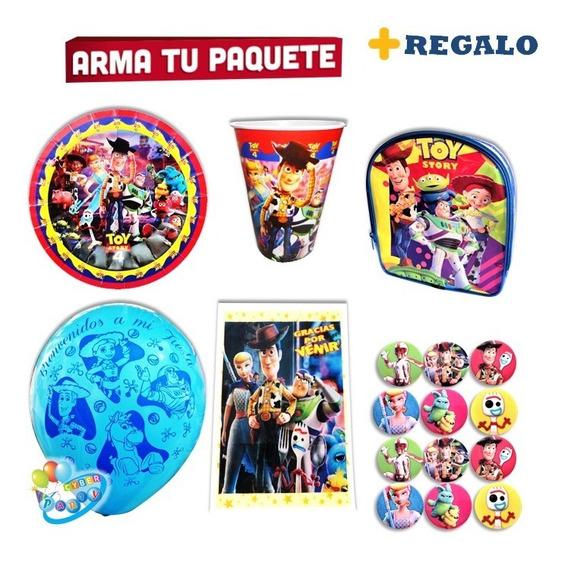 Toy Story Vasos Platos Woody Y Buzz Fiesta Dulcero