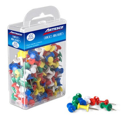 Chinches Artesco Caja X 100 Unidades Plasticas Colores