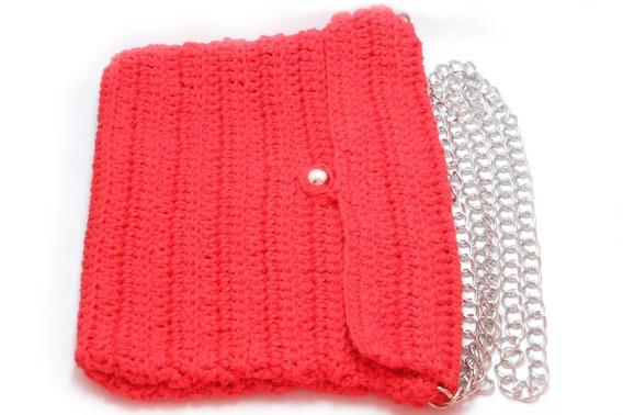 Cartera Artesanal Tejida Al Crochet Con Cadena