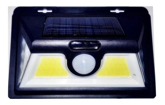 Luminária Solar Parede 52 Leds Com Sensor Presença E Chave