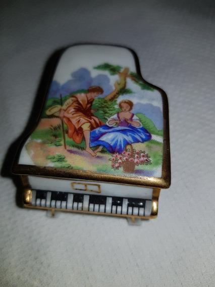 Caja Cajita Pastillero Piano Limoges Miniatura Impecable