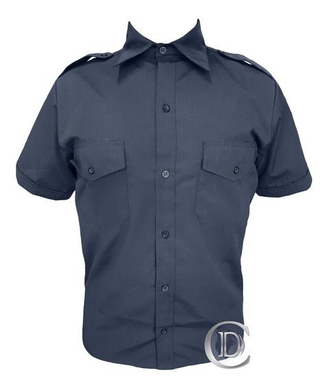 Camisa Ripstop Manga Corta Azul Uniforme Policia