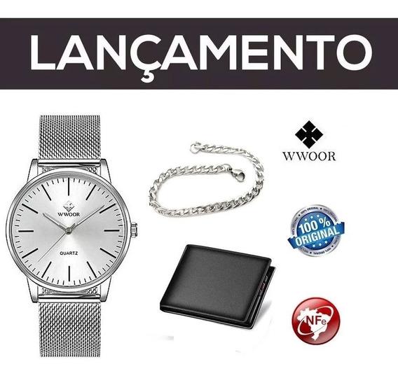 Relógio Masculino Wwoor Prata + Pulseira Aço Inox + Carteira