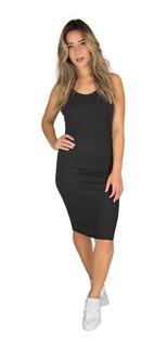 Kit 2 Vestido Midi Ribana Canelado Moda Feminina 9582