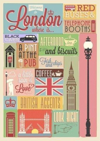 Poster Retro De Londres Con Tipografia 2 - Lamina De 50 X 40