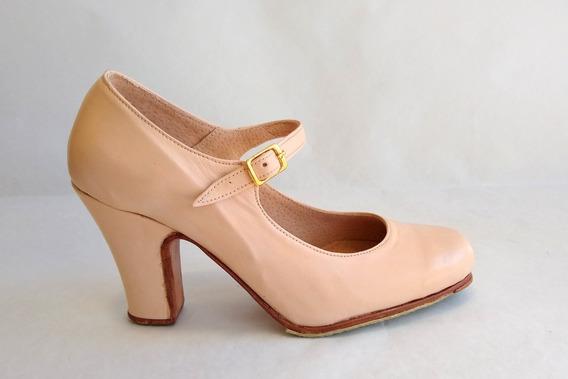 Zapatos Semillado De Flamenco, Folclore De Cuero Taco 7cm