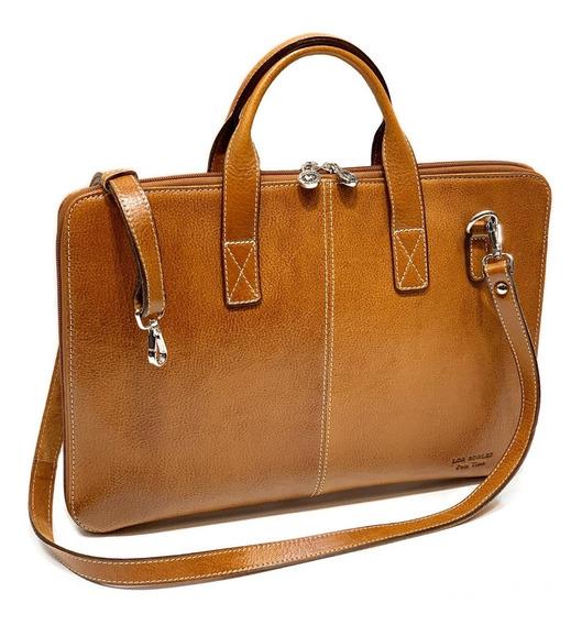 Maletin Portafolio Cuero Hombre Mujer Porta Notebook 15.6´ Oficio 2 Divisiones Correa Ajustable Ejecutivo Modelo 1090