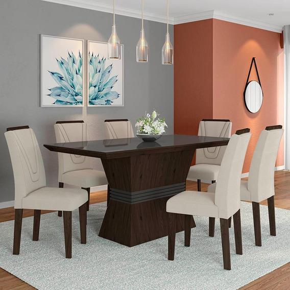 Conjunto Sala De Jantar 6 Cadeiras C/vidro Versalhes
