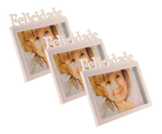 Kit Com 10 Porta Retrato 10x15cm Felicidade Branco Hp83929
