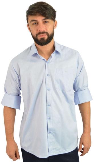 Camisa Social Masculina Azul Com Bolso - Não Perca