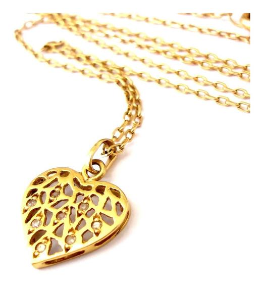 Ivi1388 = Colar C/ Berloque Ouro Amarelo. 18k , Diamantes