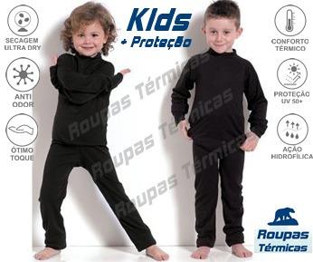 Segunda Pele Kit Térmico Infantil 1 Blusa 1 Calça 1 Meia Uv