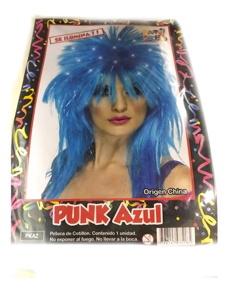 Peluca Punk Azul C/ Luz - Fiesta & Eventos- La Golosineria