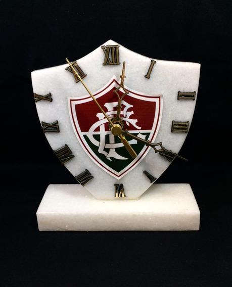 Relógio Do Fluminense De Pedra Mármore Branco Frete Grátis!