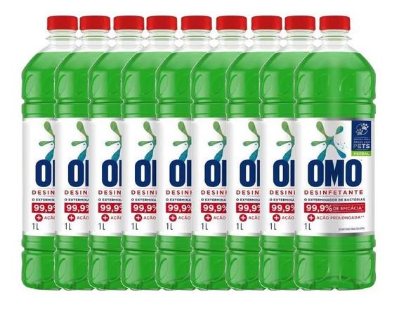 Omo Desinfetante Poder Herbal 1 Litro - Kit Com 9