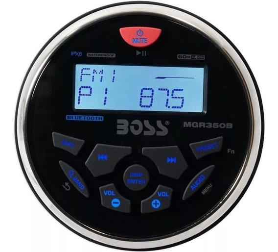 Rádio Fm Boss Mgr350b Bluetooth Mp3 Usb Aux Marinizado Barco