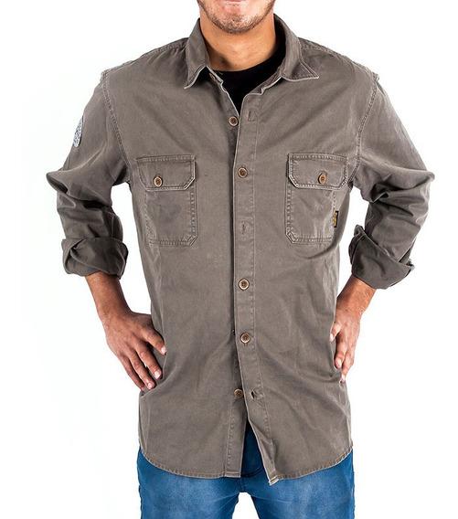 Camisa Billabong Salvage Ml Verde Militar Hombre