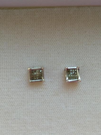 Aretes Oro Blanco Chispas De Diamantes 16puntos Cu