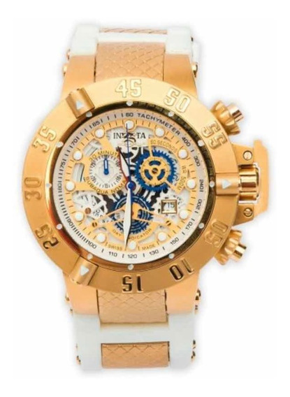 Relógio Invicta Subaqua Noma 18528 Dourado Pulseira Branca