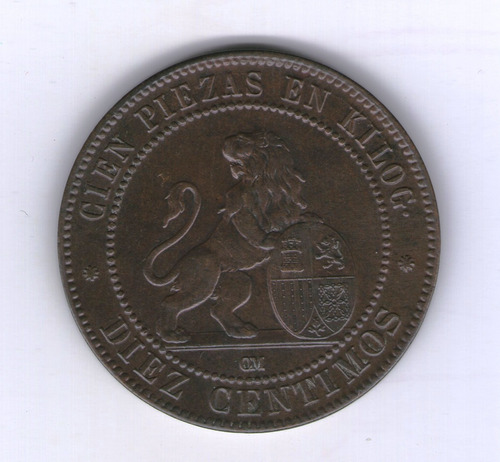 España Moneda 1870 10 Centimos Km#663 - Argentvs
