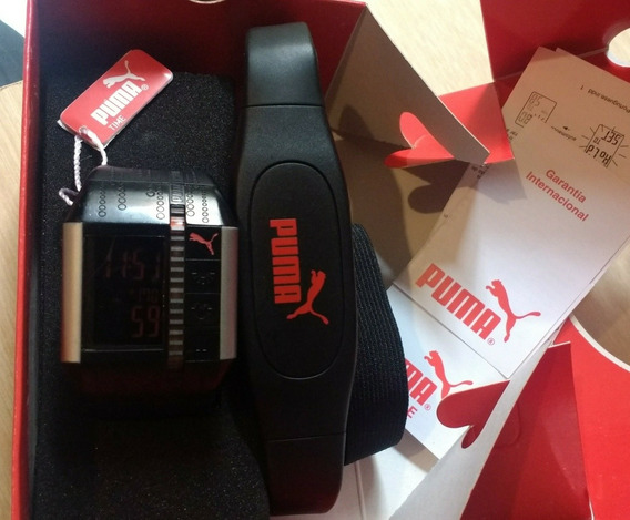 Relógio Origina Puma Cardiac Black Sliver Com Monitor Cardía