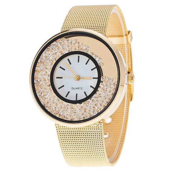 Relógio Feminino Luxo Ouro/diamantes