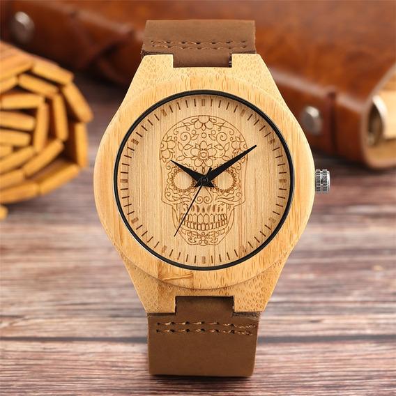 Relógio Personalizado Em Madeira Bambu Pulseira Em Couro