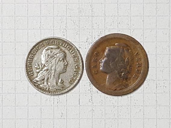 Cabo Verde 20 Y 50 Centavos 1930 Muy Escasas