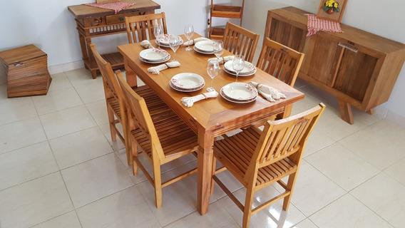 Mesa De Jantar Madeira Maciça 1,60m + 6 Cadeiras Todo Em Madeira De Demolição Peroba Rosa Móvel Perfeito 100% Ecologico