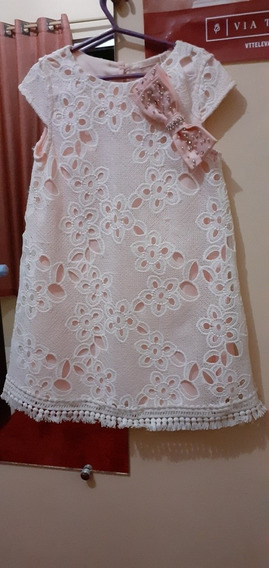 Vestido Infantil De Renda Tamanho 06 Marca Petit Cherie