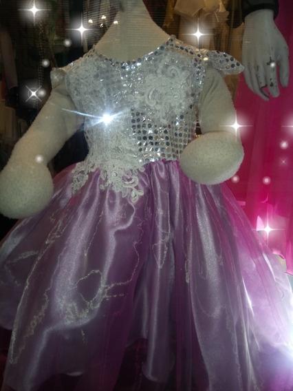 Vestido Princesa De Fiesta, Talle 2 Años. Tornasol.