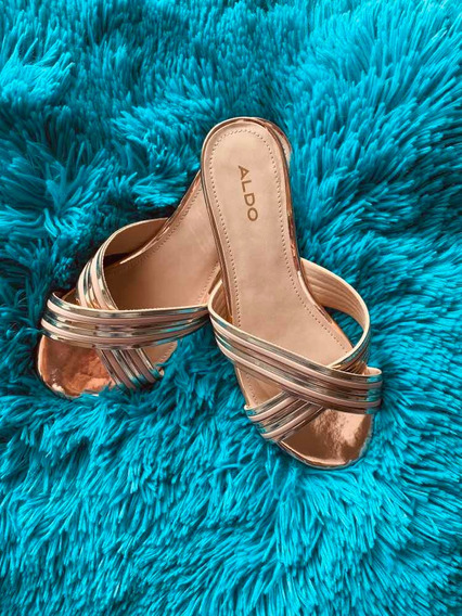 Sandalias Metalizadas Oro Rosa Aldo 6.5 Mex Nuevos