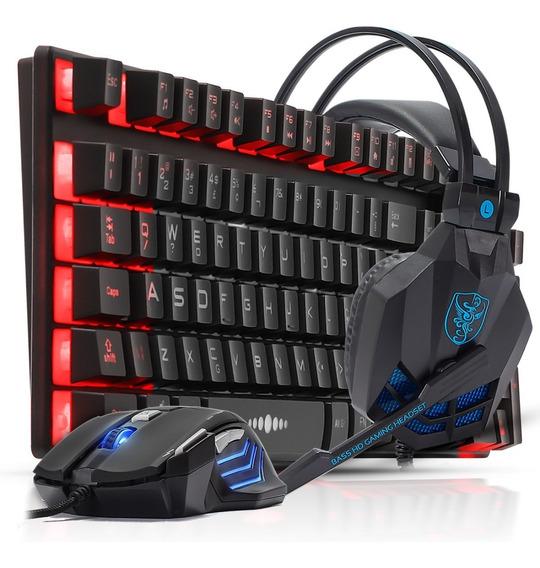 Kit Teclado Gamer Semi Mecânico Fone Headset Mouse 2400dpi