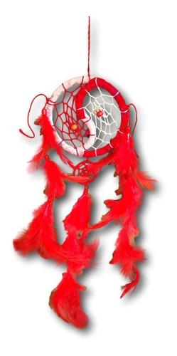 Filtro/apanhador  Dos Sonhos Com Penas Vermelho Ref: 0294