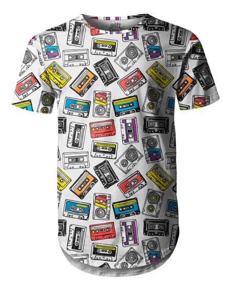Camiseta Masculina Longline Swag Fitas Cassete K7