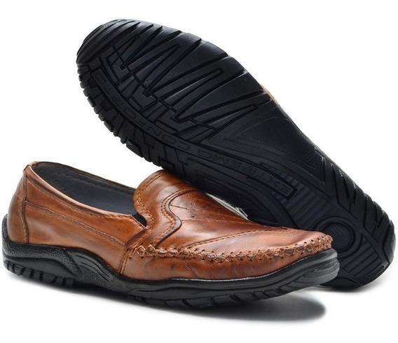 Sapato Mocassim Casual Masculino Em Couro