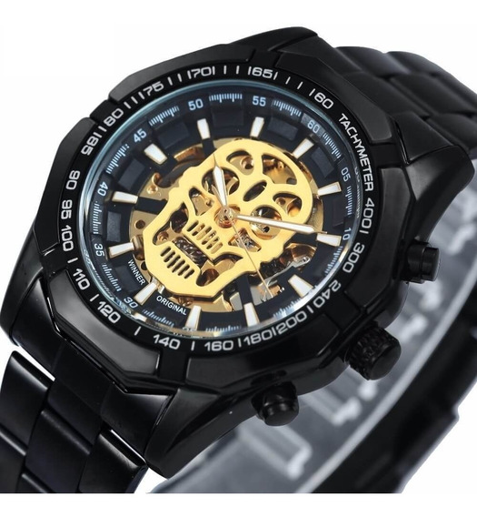 Relógio Caveira T-winner Black Skull Watch Waterproof Promo