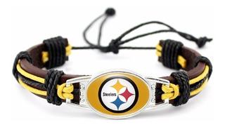 Brazalete Pulsera Cuero Nfl Steelers Aceceros Pittsburgh