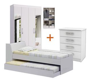 Combo Dormitorio Ropero 4 Puertas + Cama Marinera + Cómoda