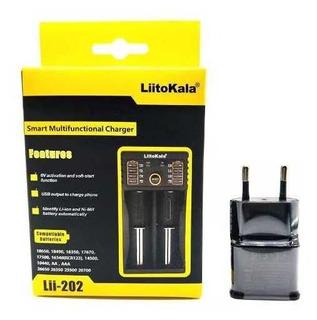Carregador Bateria Para 2 Baterias Vape 18650+fonte 5v Usb