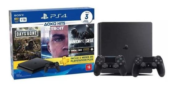 Video Game Playstation 4 Ps4 1tb 2215b Americano + 3 Jogos