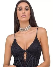 Body Renda Alça Guipir Decote V Ruy Barbosa Rendado Moda