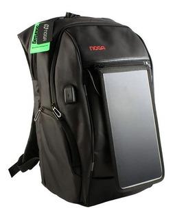 Mochila Noga Power Bank Solar Carga Celular Tablet Gtia Full