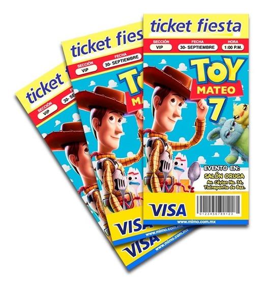50 Invitaciones Tipo Ticketmaster De Toy Story
