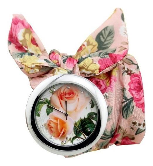 Relógio De Pulso Lenço Florido Rosa Pano Tempo Hora