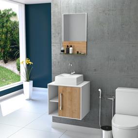 Gabinete Com Pia Para Banheiro Compace Branco/vermont Oak