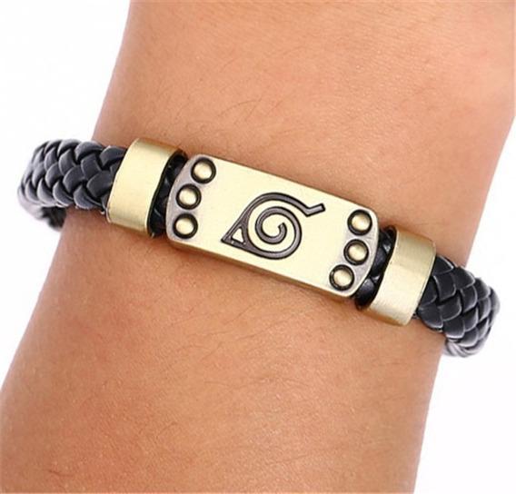 Pulseira Bracelete Couro Konoha Aldeia Da Folha - Naruto