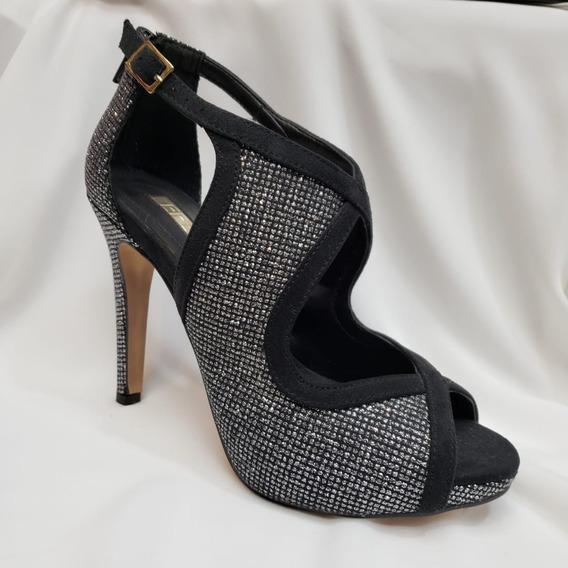 Sandalia De Moda Tipo Botín Aplicaciones Glitter