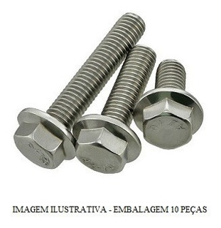 Parafuso Sext Flange M6x15 Cabeca 10mm Pacote 10 Pcs Honda G