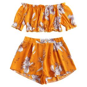 Zaful Floral Fora Do Ombro Top E Shorts Set